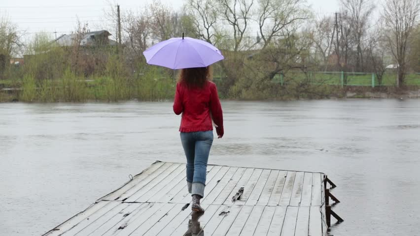 20aabfc03fdf2 Back of woman with purple umbrella walking on wooden pier in rain