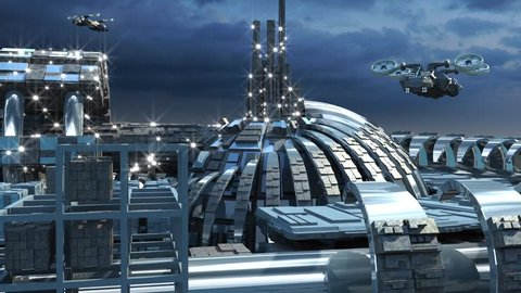 Science fiction cityscape with metallic structures, marina and hoovering jets for futuristic or fantasy animated backgrounds