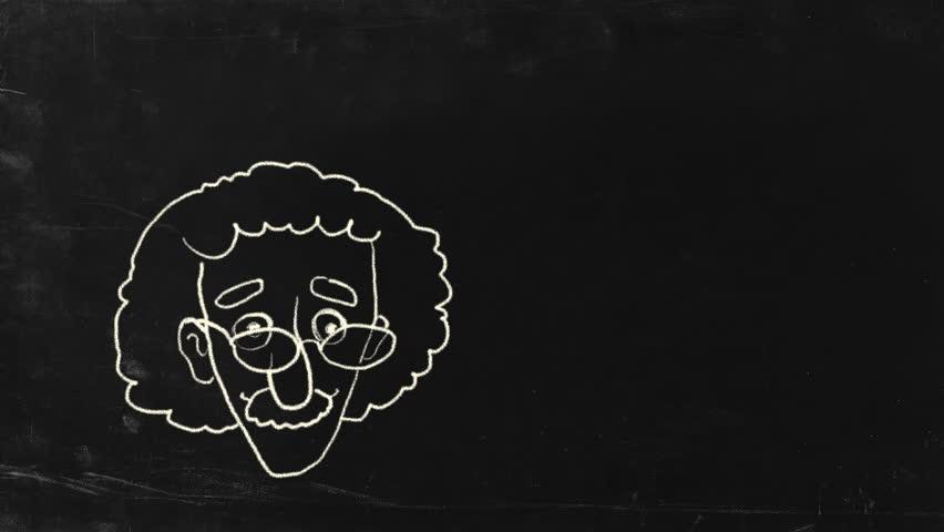 The genius Albert Einstein show tongue. Sketch on blackboard. HD, include alpha channel.