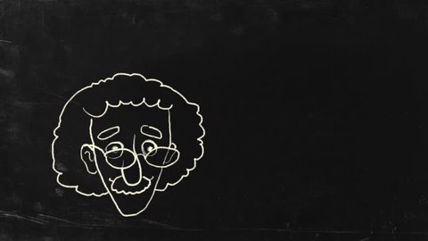 The genius Albert Einstein show tongue. Sketch on blackboard. HD, include alpha channel.