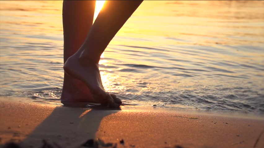 Woman running on beach barefoot over sunset. Girl running in shallow water at sunset. Healthy lifestyle concept. Slow motion 240 fps. High speed camera shot 1920x1080, #7080781