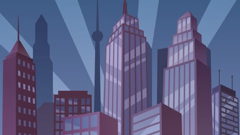 Superhero on Roof Loop: Animation of superhero watching over the city. Looped video.