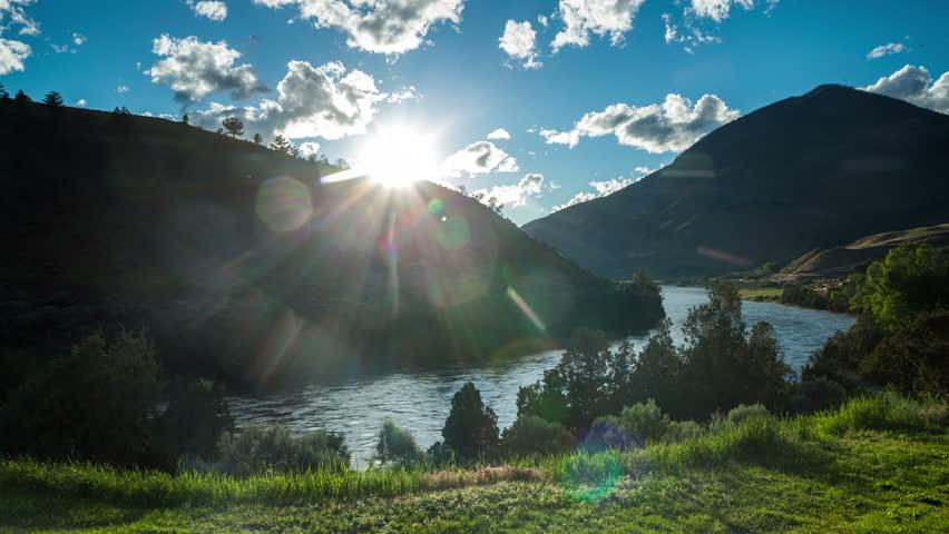 Beautiful sunset upon Yellowstone River, Montana, USA | Shutterstock HD Video #7126561