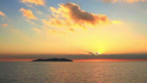 Colorful sunset on Marmara Sea, Istanbul. KINALI ADA Island Sunset Timelapse