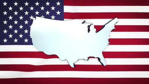 Rotating map of USA in front of Star and Stripes flag