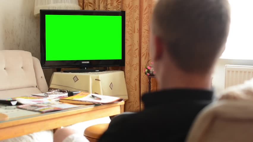 Man Watches Tv Television Green Screen Living Room