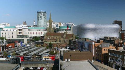 Birmingham city centre, Rotunda, Bull Ring, Selfridges, Market. View overlooking some landmarks in Birmingham, England city centre.