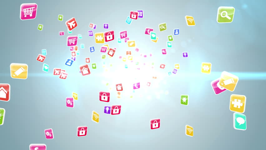 Digital animation of Colourful app icon tiles on light background | Shutterstock HD Video #7286248