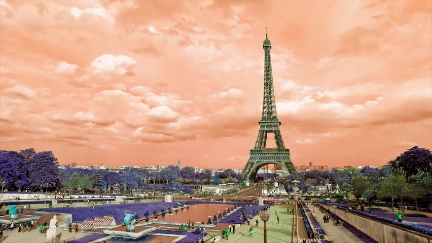 Grunge Eiffel Tower sunset. Etoile, one of the monuments of Paris France, including Arch of Triumph, Louvre, Montmartre, Montparnasse, Moulin Rouge, Versailles, Pompidou Center, Notre Dame. | Shutterstock HD Video #7291561