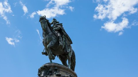 4k Timelapse  of George Washington statut with clouds moving on background