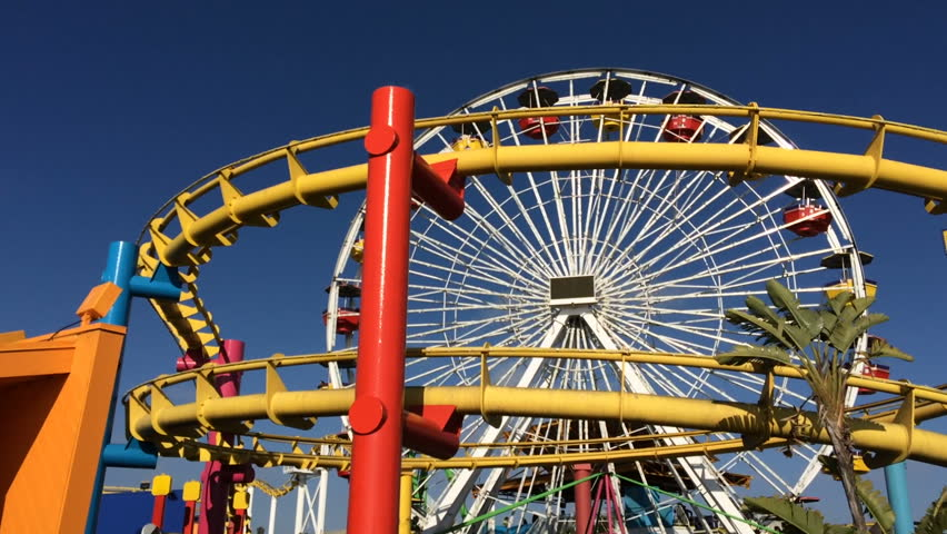 A shot of roller coaster on the santa monica pier stock for Cox paint santa monica