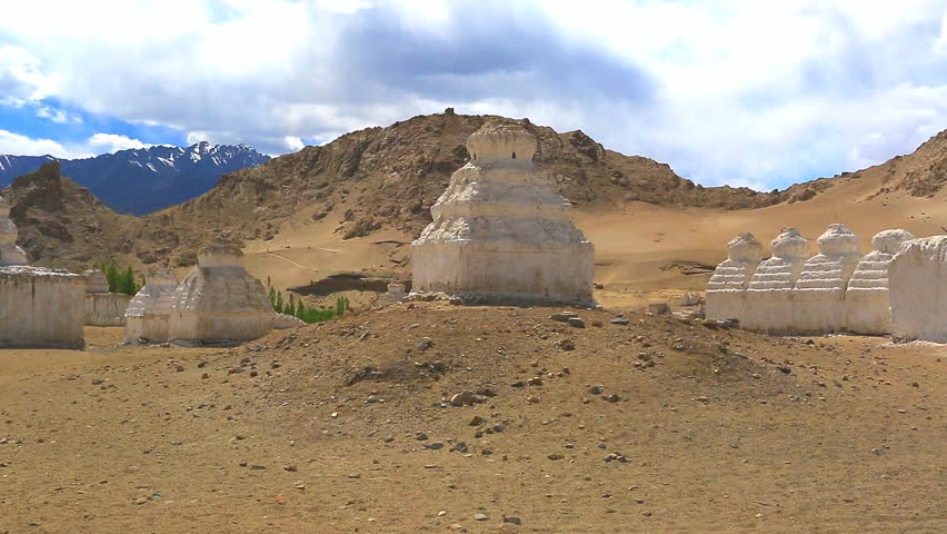 Ancient stupas of Ladakh - panorama video taken in the area of the Little Tibet, Ladakh, India  | Shutterstock HD Video #7317541