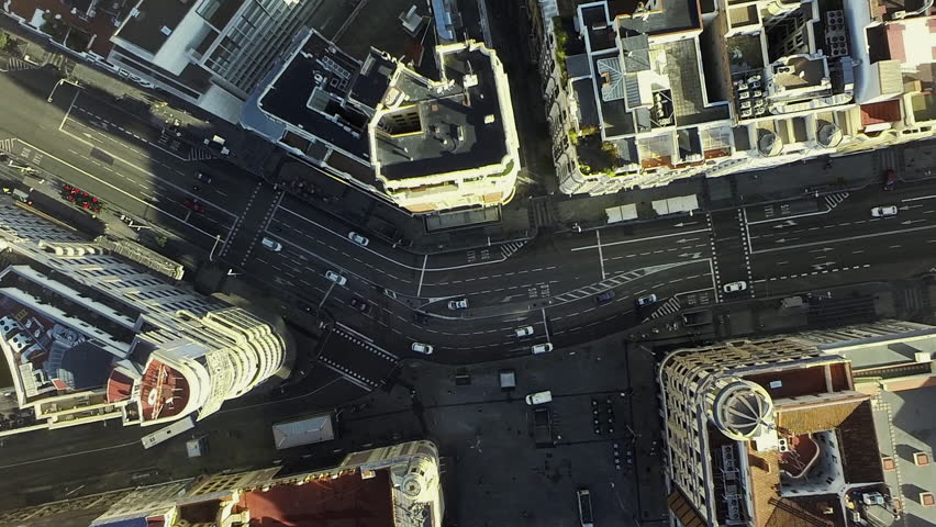 Aerial drone filming of the Madrid skyline