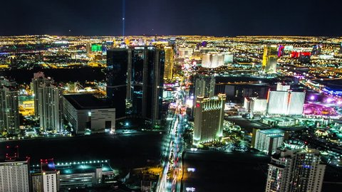 LAS VEGAS - Night time aerial view time lapse of the Las Vegas strip and surrounding areas, US, April, 2014