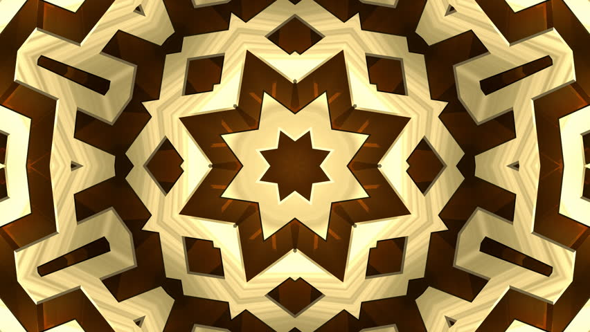 4K Colorful looping kaleidoscope sequence of golden patterns. 4K UHD 4096 x 2304 ultra high definition abstract motion graphics background