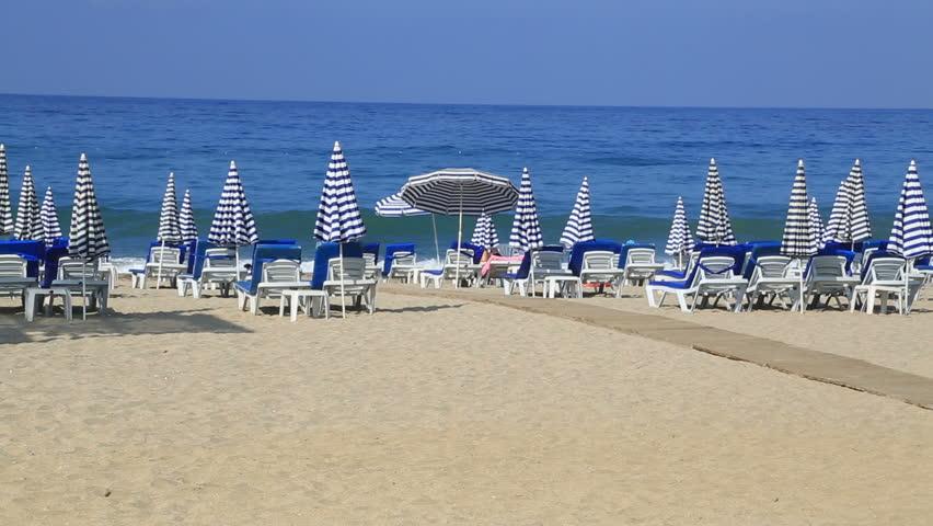 Deck Chairs On a Vacation Beach ( Cleopatra beach Alanya Antalya Turkey)