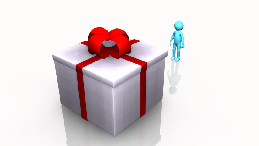 Curious 3D man opening a gift box against a white background