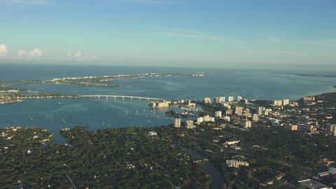 Sarasota, Florida 4k AERIAL, early morning light, looking towards gulf.