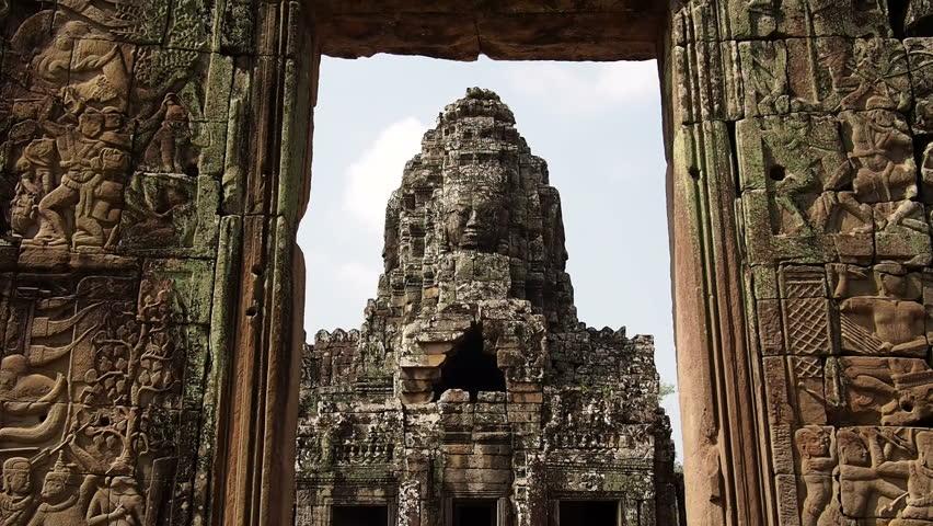 The ancient Bayon temple at Angkor, Siem Reap, Cambodia.
