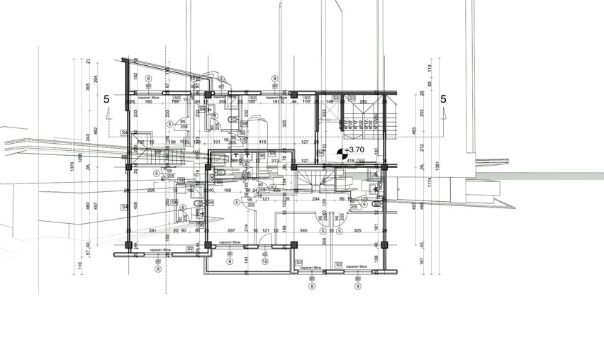 Abstract Architecture Background Blueprint House Plan With Sketch