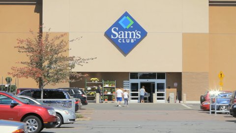 SEEKONK, MA - SEPT 28: Sam's Club store building exterior open for business on September 28, 2014. Sam's West, Inc. is an American chain of membership-only retail warehouse clubs owned by Walmart