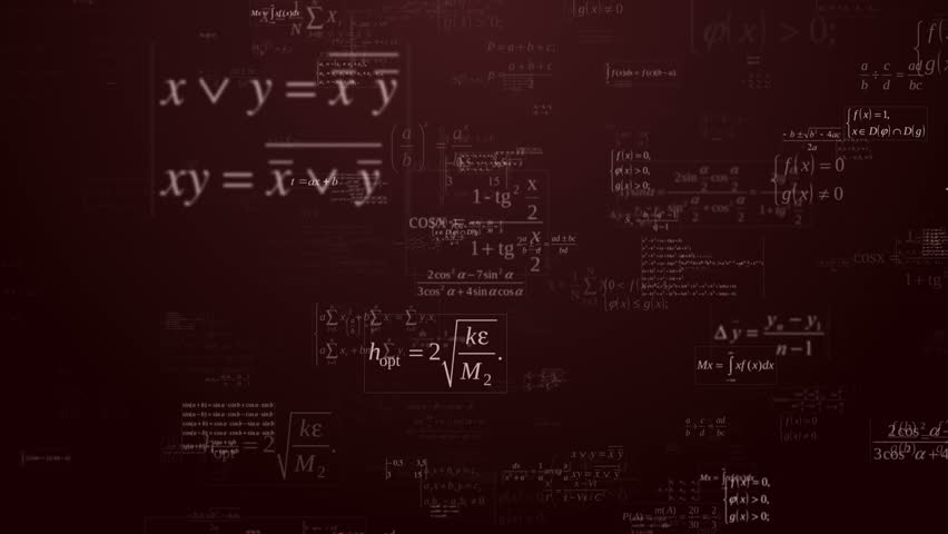Loopable floating mathematical formules on the dark red background | Shutterstock HD Video #7485961