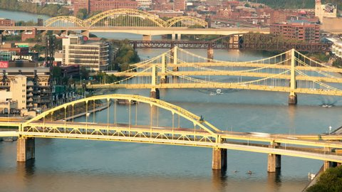 (Time-lapse) Traffic crosses the Allegheny River bridges between the north shore and downtown Pittsburgh, Pennsylvania.