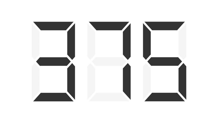 digital counter 0-999 - each number in separate frame, 50fps