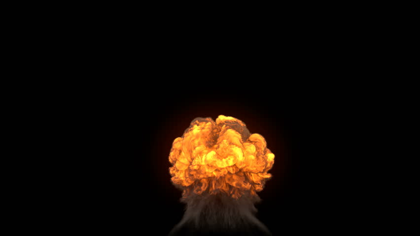 4K impressive huge explosion isolated on black (Hd, ultra 3840 X 2160, ready for compositing, with alpha) massive nuclear mushroom