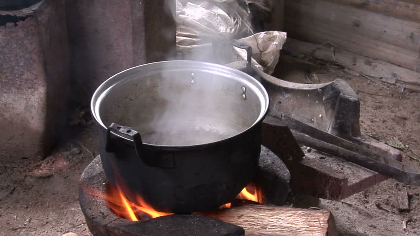 Cooking pot on a fire in a Karen village in north Thailand.