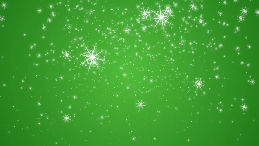 falling snowflakes and stars on a green background new