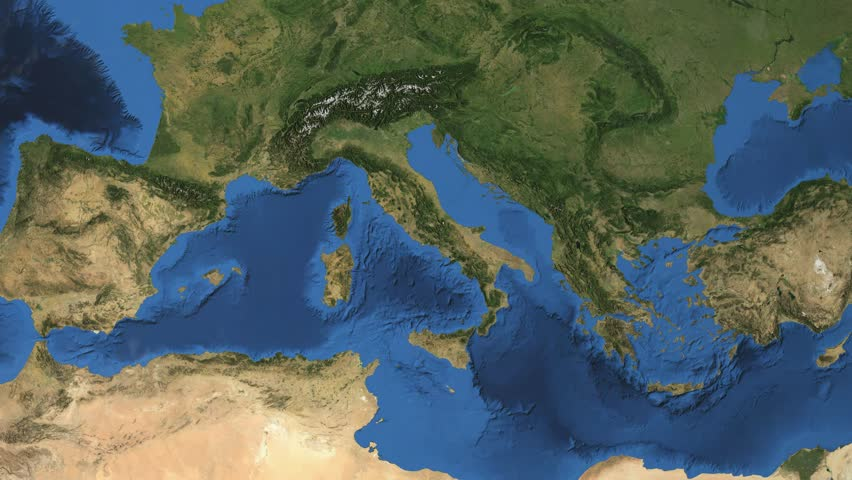 """Italy. 3d earth in space - zoom in on Italy contoured. """"Elements of this image furnished by NASA"""""""