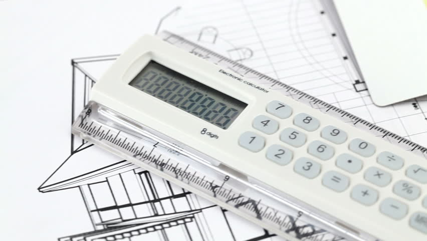 Ruler calculator, metric folding ruler and architectural drawings of the modern house & materials