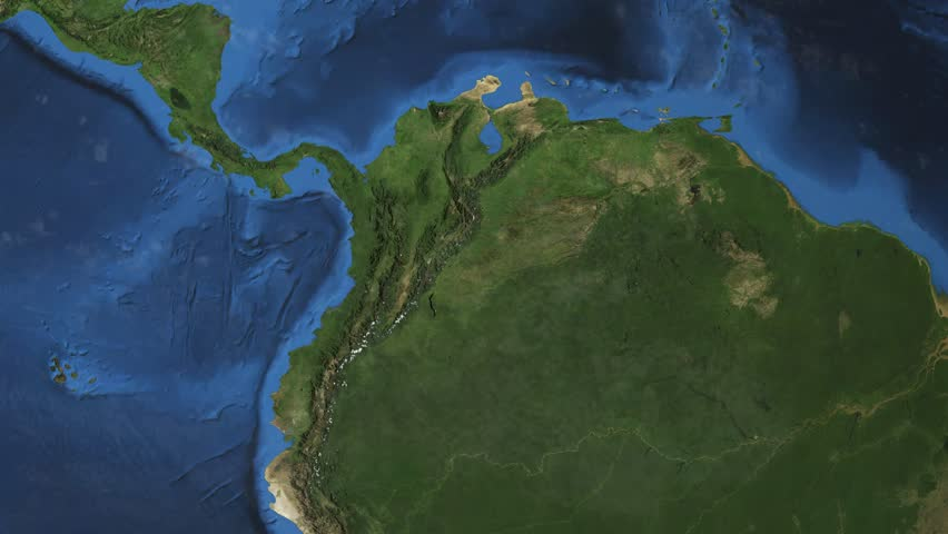 """Colombia. 3d earth in space - zoom in on Colombia contoured. """"Elements of this image furnished by NASA""""  