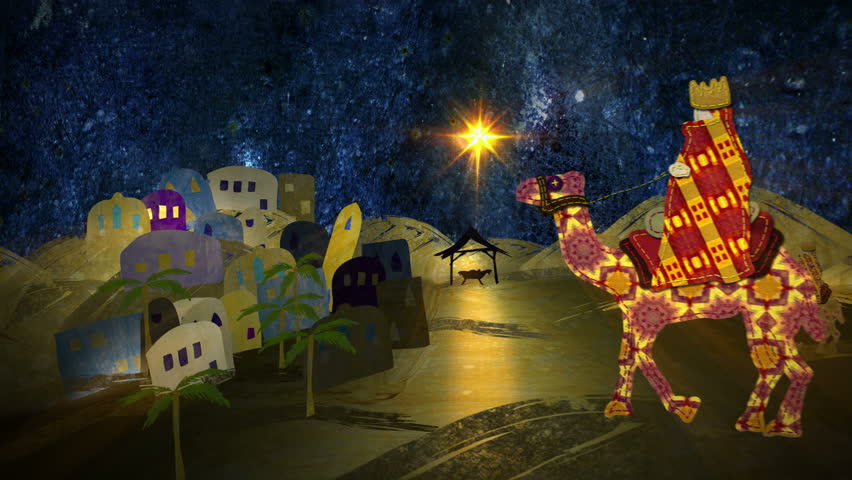 Silent Night. Christmas nativity animation. The last 10 seconds are a loop. Mixed media collage style, using fabric, photography and paint. In 4K Ultra HD, HD 1080p and smaller sizes.