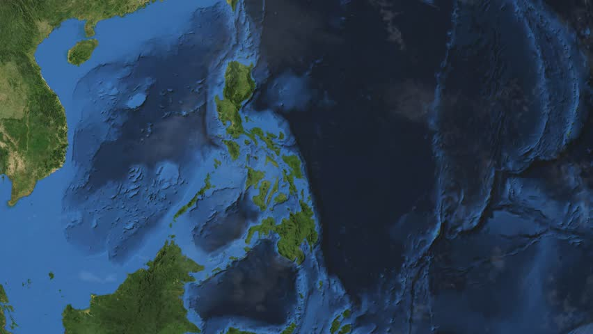 Philippines. 3d earth in space - zoom in on Philippines contoured.
