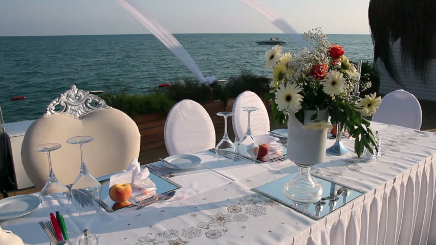 Elegant Outdoor Wedding Table With Stock Footage 100 Royalty Free 7583551 Shutterstock