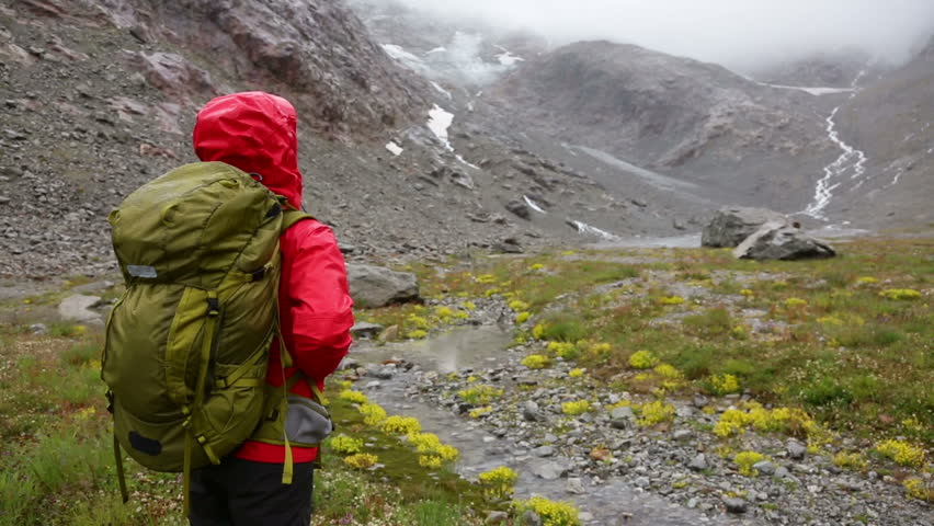Trekking Woman Hiking On Hike With Backpack In Rain Living Healthy Active Lifestyle Hiker Girl