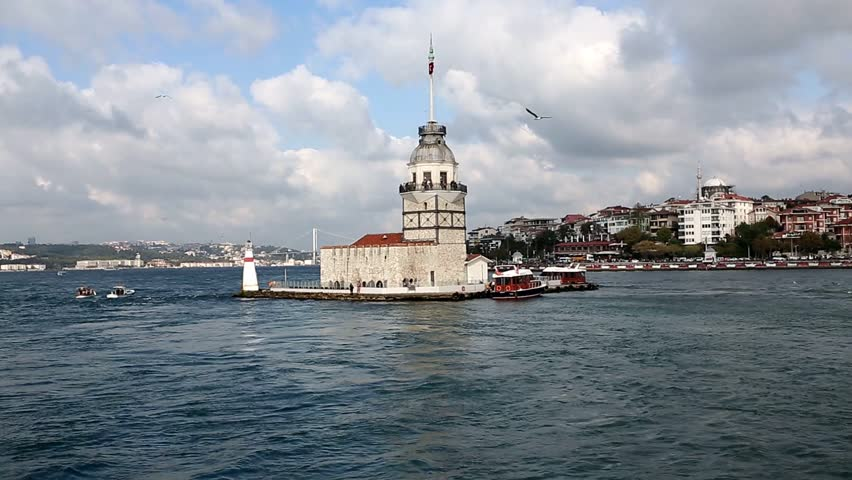 Bosphorus and Maiden Tower in Istanbul, Turkey.