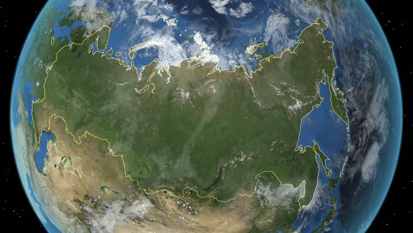 Russia. 3d earth in space - zoom in on Russia contoured. Elements of this image furnished by NASA. | Shutterstock HD Video #7624399