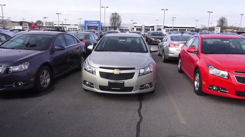 SYRACUSE, NEW YORK – June 27 2014: New Cars at Chevrolet Dealership on June 27 2014 in SYRACUSE, New York