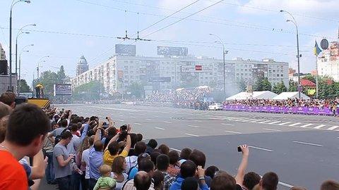 19.05.2012, Kiev, Ukraive, the F1 Red Bull show on the Lesi Ukrainky str. (F1 pilot:  Daniel Ricciardo in the NASCAR bolide)