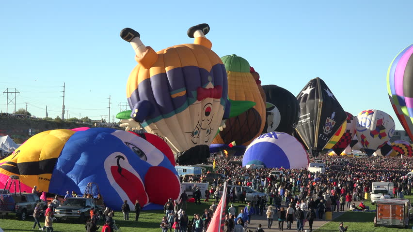 ALBUQUERQUE, NEW MEXICO - OCT 2014: ABQ Balloon Fiesta preparation for flight time lapse. Balloon Fiesta began 1972. Over 600 balloons from over 20 different countries and the world's largest event.