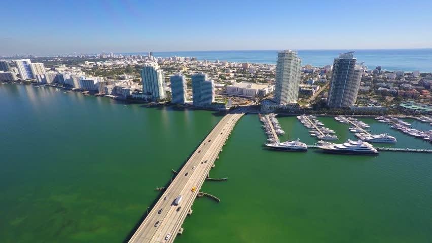 Macarthur Miami Beach 4k aerial video #7658701