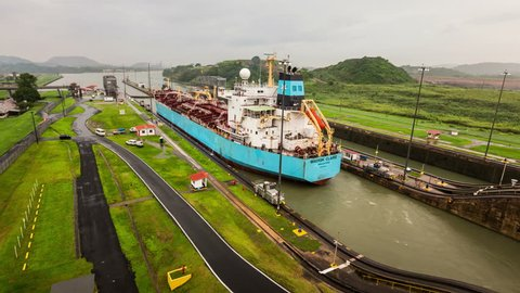 Panama Canal time lapse of ship leaving, 2014.