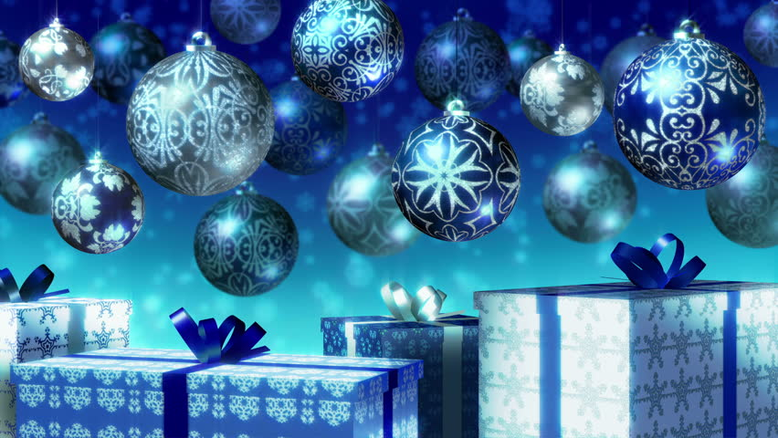 Christmas Balls And Gifts Loop. Blue And Silver Baubles And Gift ...