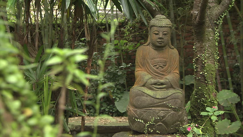 Buddhist Statues In Garden   HD Stock Footage Clip