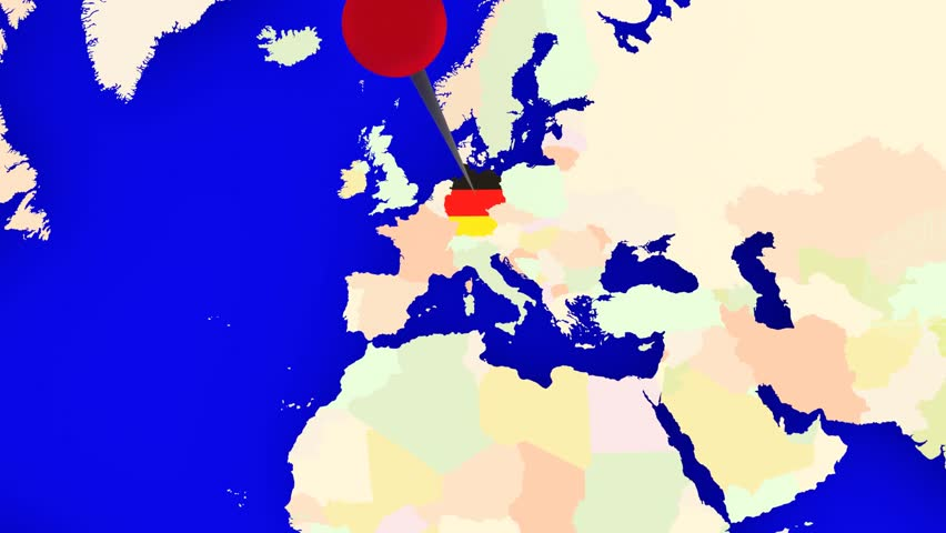 A Pin Marks The Country Germany On A World Map The Camera Zooms - Germany map view
