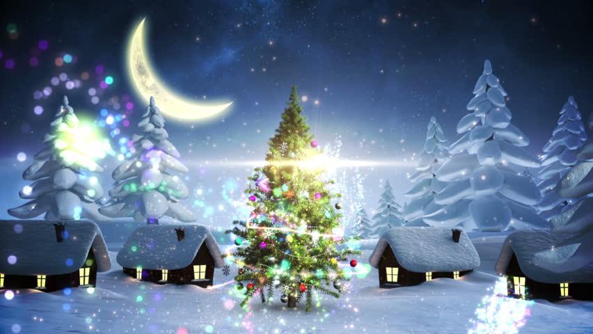 Christmas Tree In Magic Snowy Winter Night Outdoor