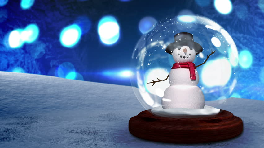 Digital animation of Snow man waving inside snow globe | Shutterstock HD Video #7743091